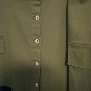 Navy green front large pockets mini button skirt